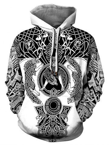Novelty Printed Kangaroo Pocket Drawstring Hoodie - WHITE - XL