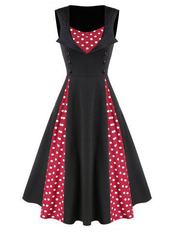 Polka Dot Panel Button Fit And Flare Dress