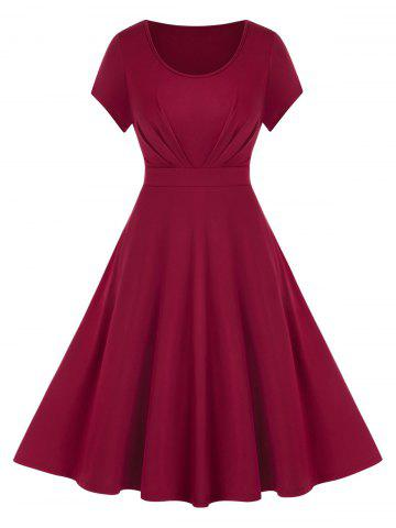 Plus Size Solid Fit And Flare Dress - RED WINE - 1X