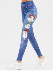 Christmas Santa Claus Stars Print High Waisted Jeggings -