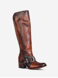 Ruched Buckled Chunky Heel Knee High Boots -