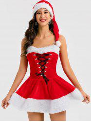 Christmas Lace Up Cosplay Mini Dress with Hat -