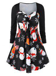 Christmas Snowman Santa Claus Ruffle Sweetheart Dress -