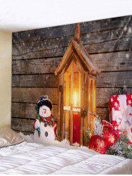 Christmas Candle Snowman Wood Grain Print Tapestry Wall Hanging Art Decoration -