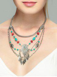 Alloy Faux Turquoise Leaf Necklace -