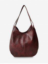 Leather Patched Pattern Leather Bag -