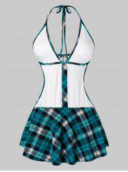 Plus Size Halter Plaid Tied Backless Babydoll Set -