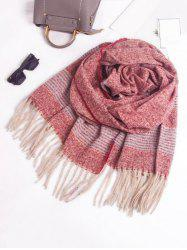 Winter Fringed Striped Knitted Scarf -