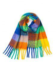 Checkered Print Fringed Scarf -