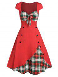 Plaid Print Panel Button Sweetheart Neck Dress -