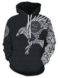 Novelty Bird Letter Print Pocket Hoodie -