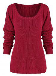 Plus Size Raglan Sleeve Cold Shoulder Sweater -