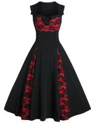 Two Tone Rose Lace A Line Dress -