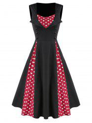 Polka Dot Panel Button Fit And Flare Dress -