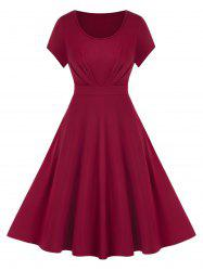 Plus Size Solid Fit And Flare Dress -