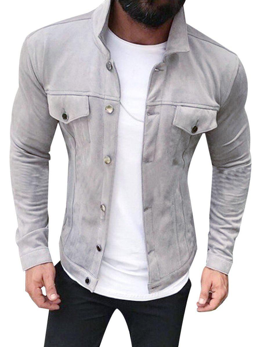 Bouton Solide Couleur Jacket Suede