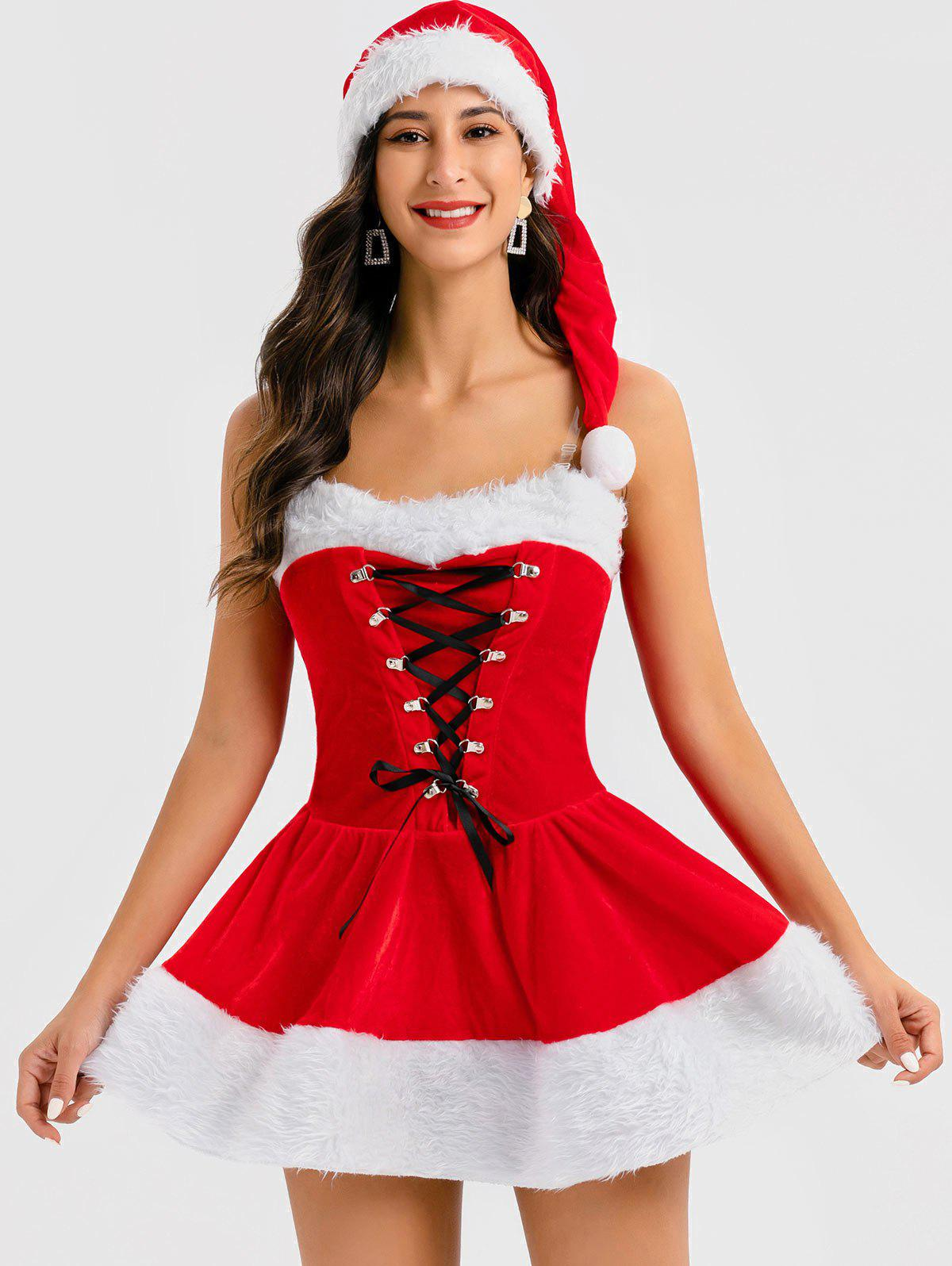 New Christmas Lace Up Cosplay Mini Dress with Hat