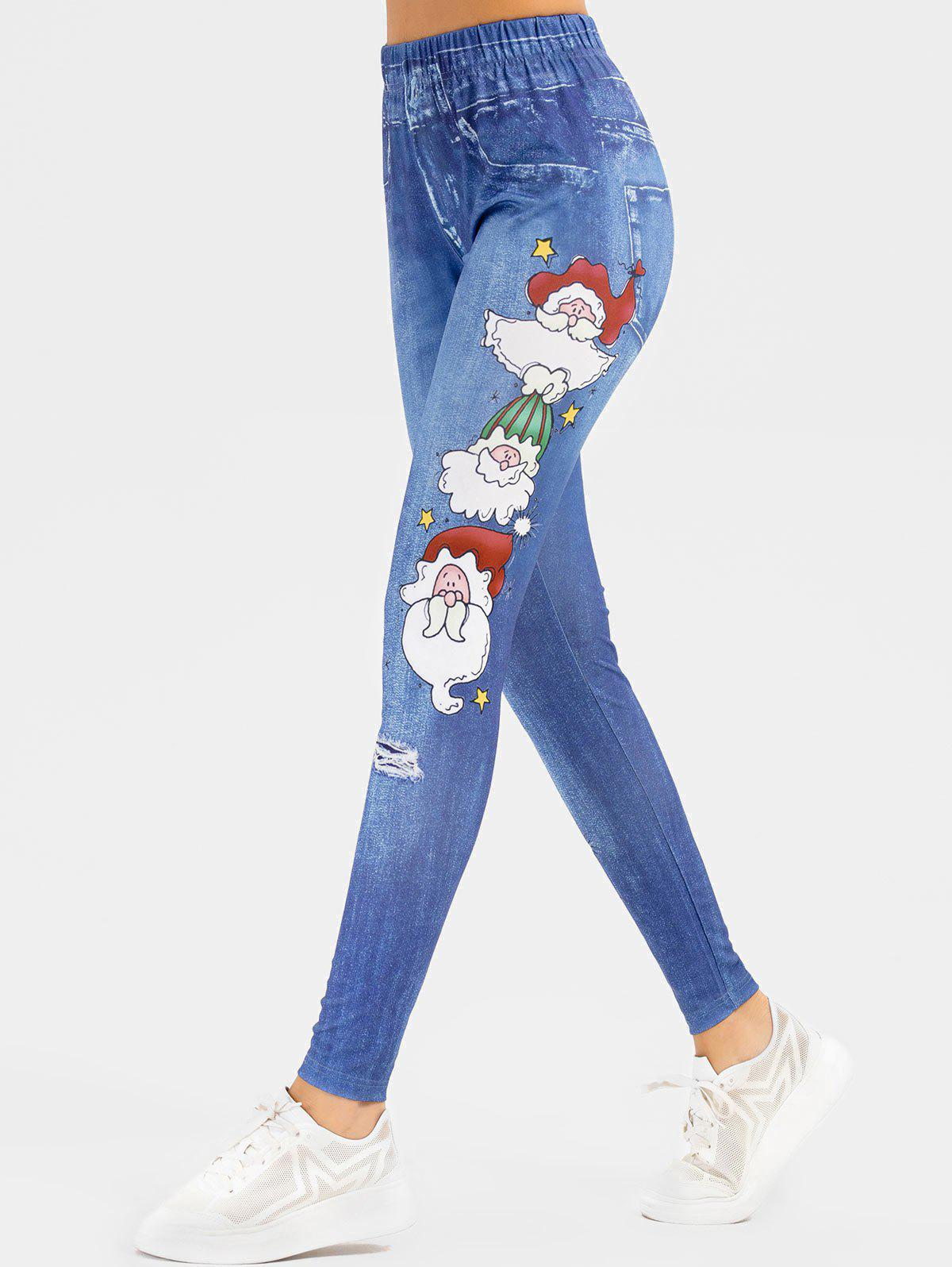 Unique Christmas Santa Claus Stars Print High Waisted Jeggings