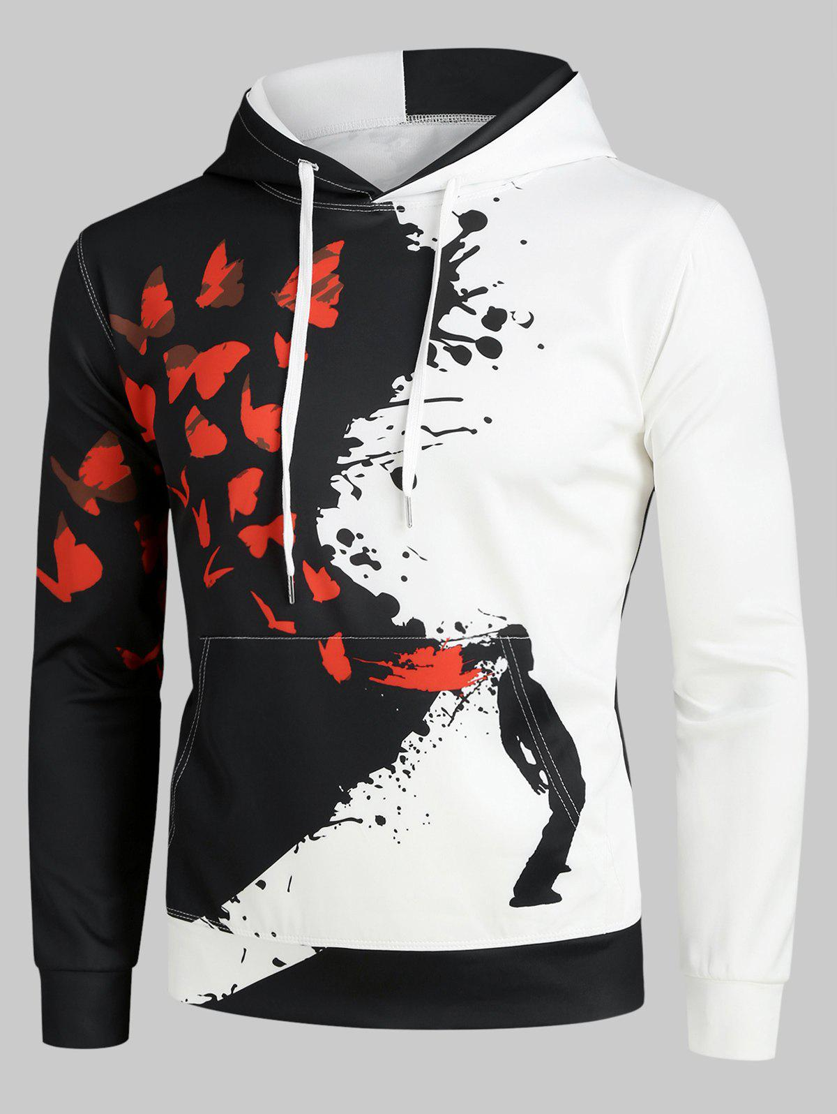 Hot Splatter Butterfly Art Graphic Front Pocket Casual Hoodie