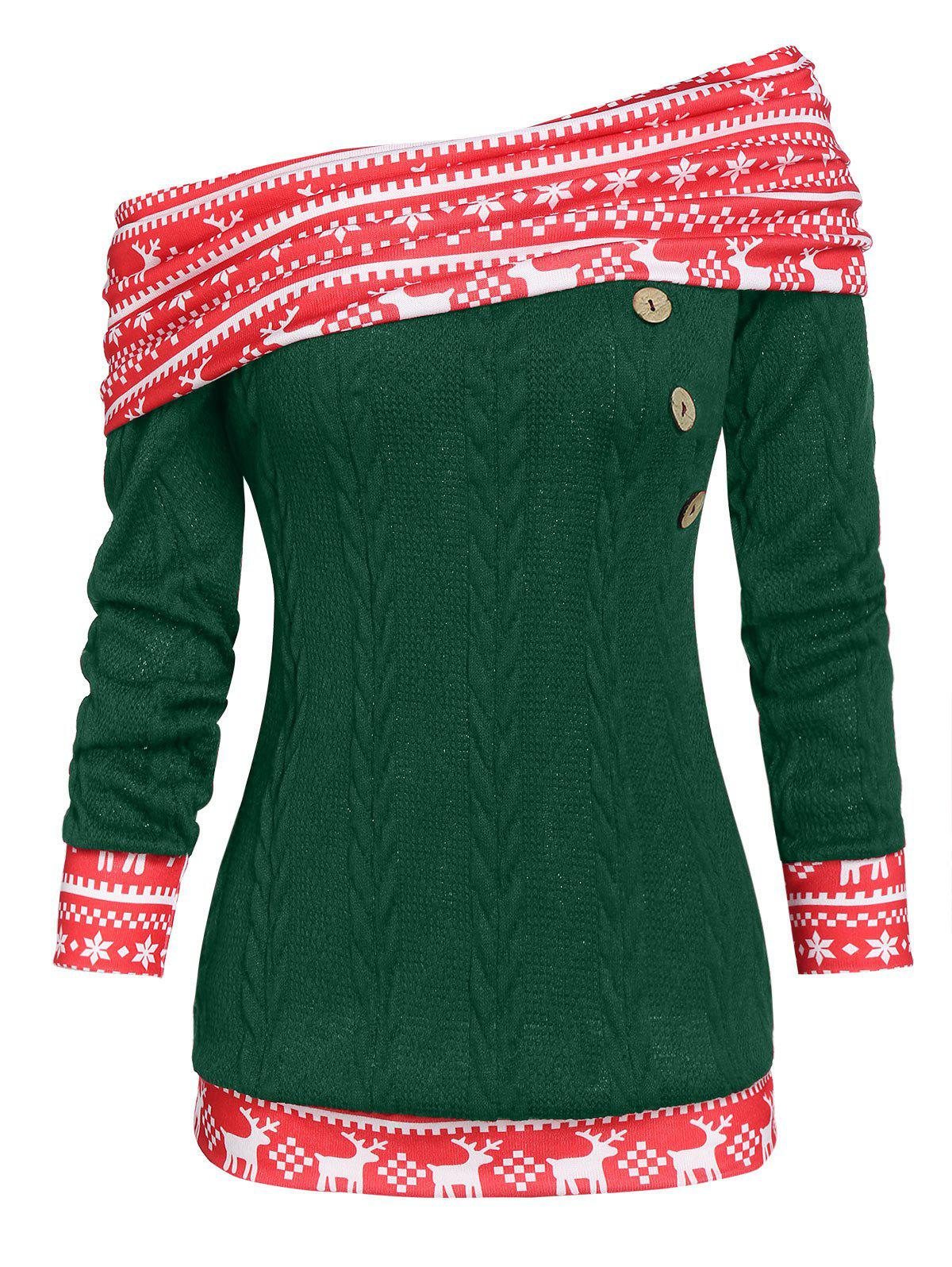 Chic Christmas Convertible Skew Neck Elk Print Cable Knit Sweater