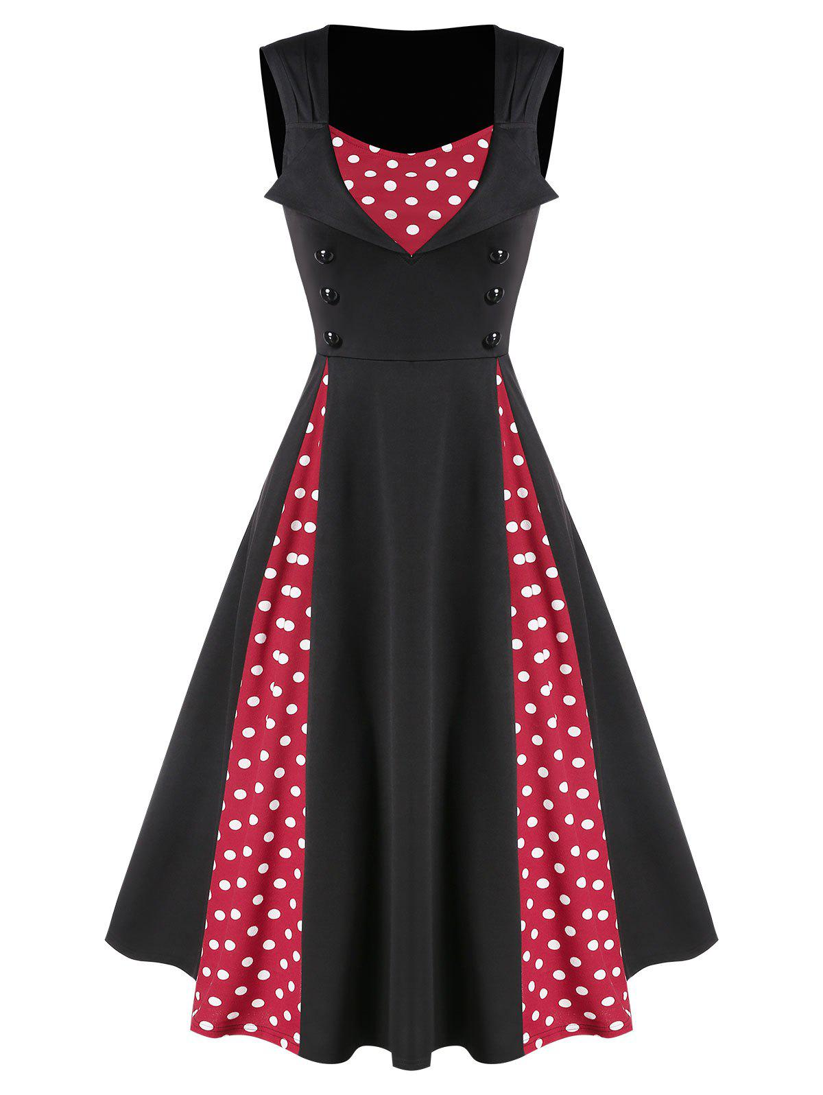 Chic Polka Dot Panel Button Fit And Flare Dress