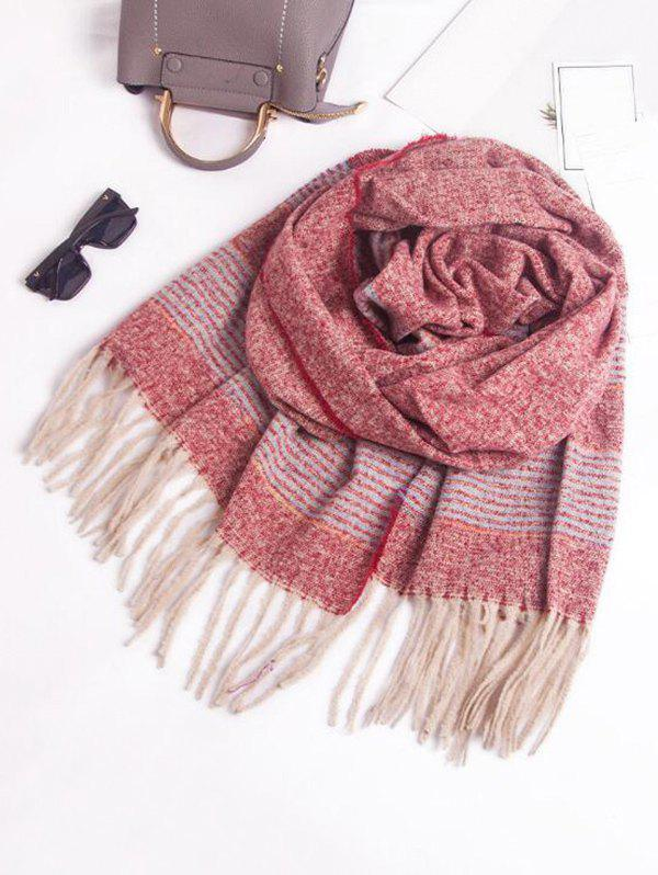 Fancy Winter Fringed Striped Knitted Scarf