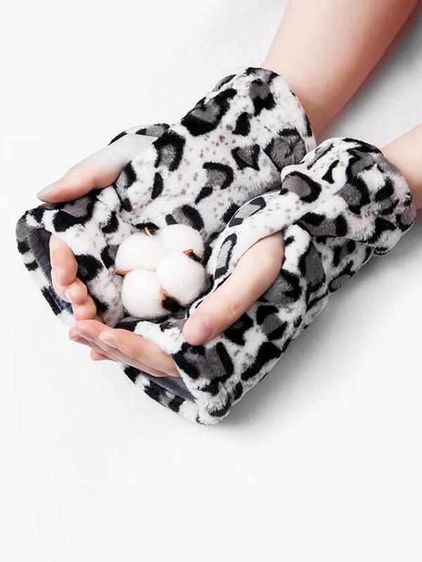New Winter Flannel Leopard Zebra Print Fingerless Gloves