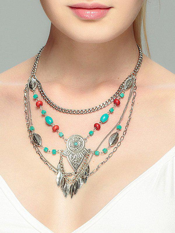 Alloy Faux Turquoise Leaf Necklace, Silver