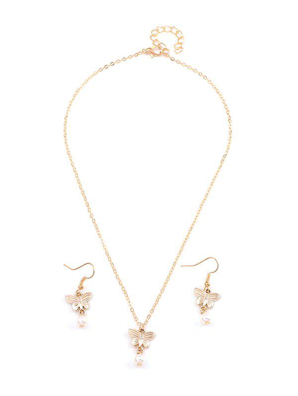Buy Artificial Pearl Butterfly Pendant Necklace and Hook Earrings