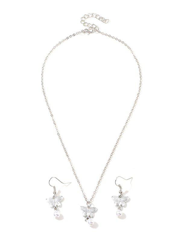 Unique Artificial Pearl Butterfly Pendant Necklace and Hook Earrings