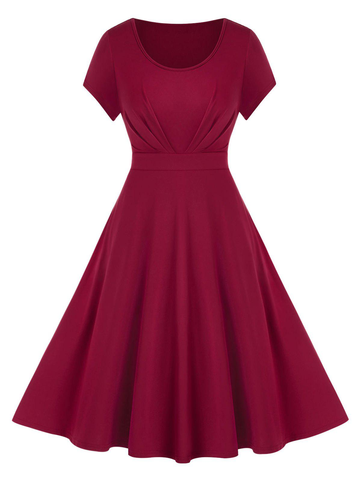 Buy Plus Size Solid Fit And Flare Dress