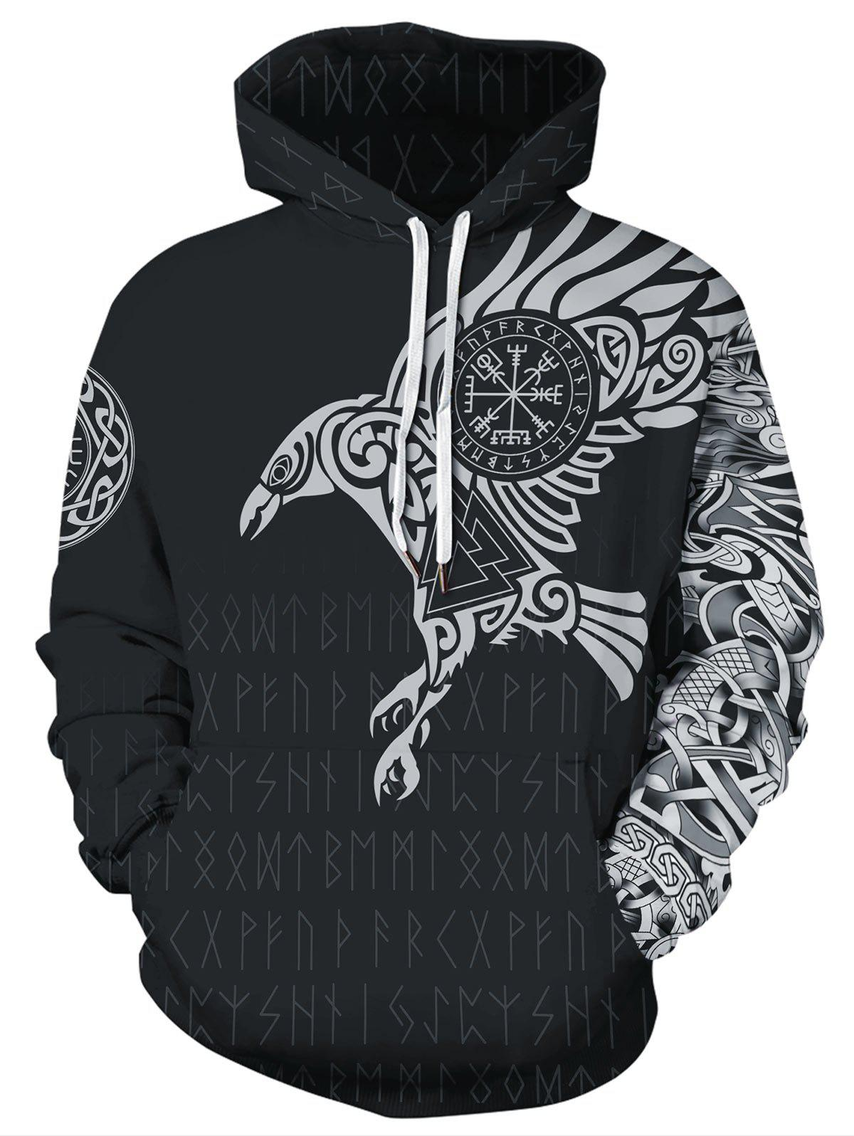 Buy Novelty Bird Letter Print Pocket Hoodie