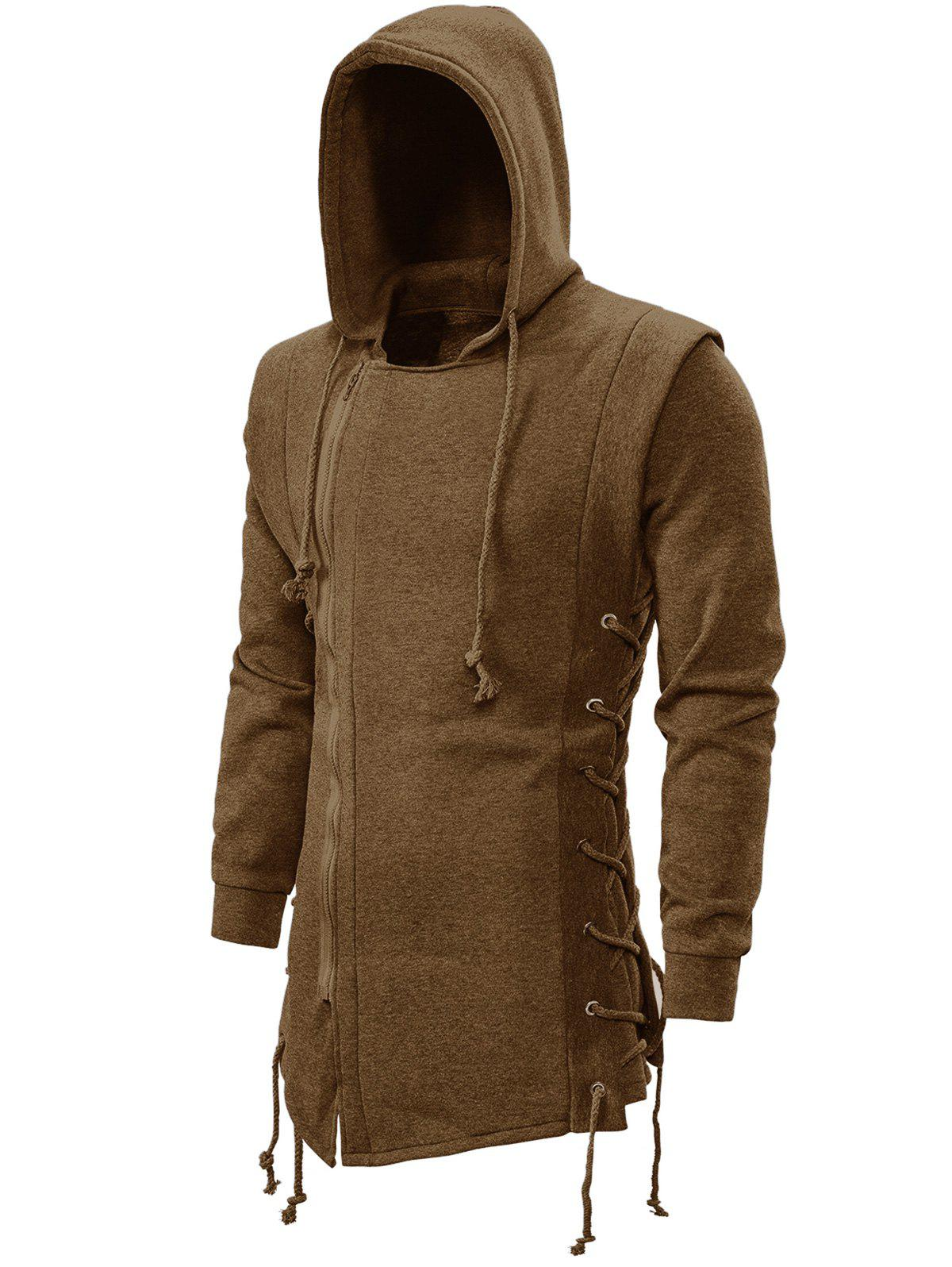 Affordable Side Lace Up Fleece Gothic Hoodie