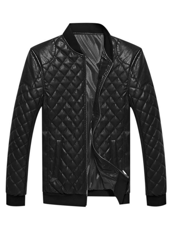 Best Geometric Print Faux Leather Casual Jacket