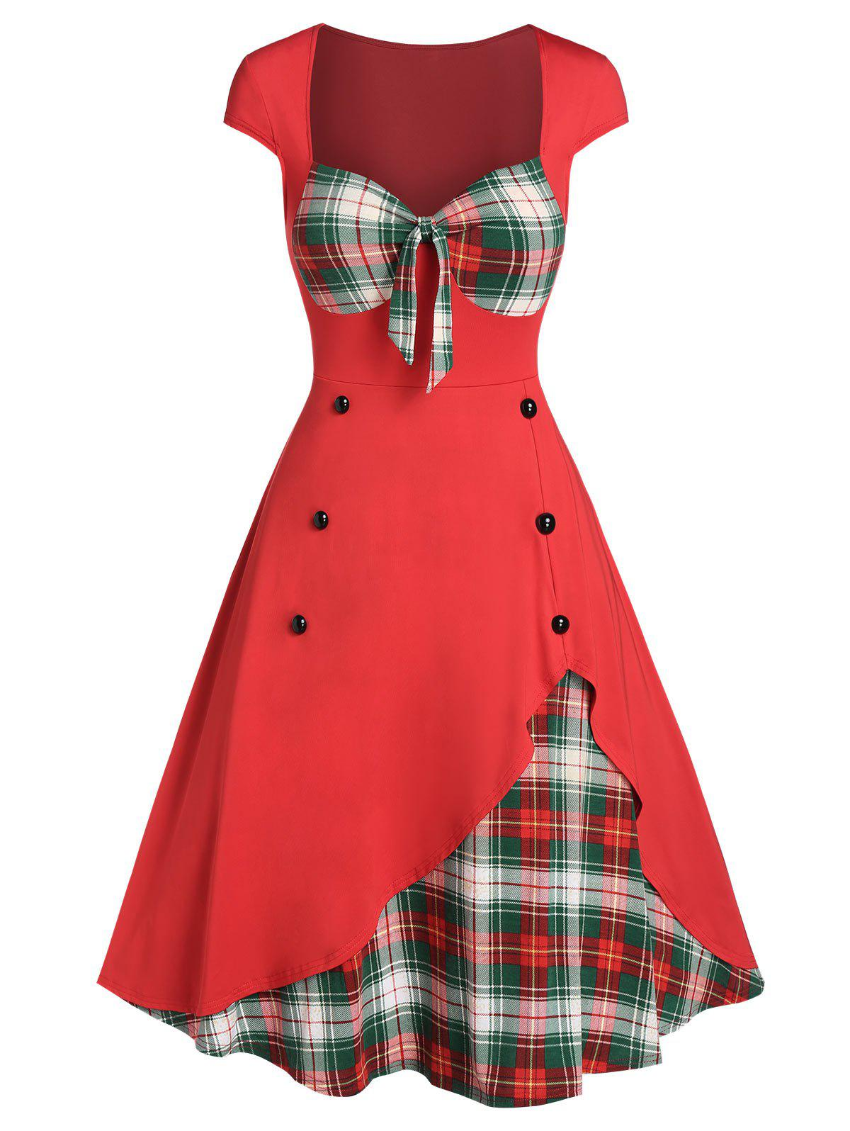 Cheap Plaid Print Panel Button Sweetheart Neck Dress