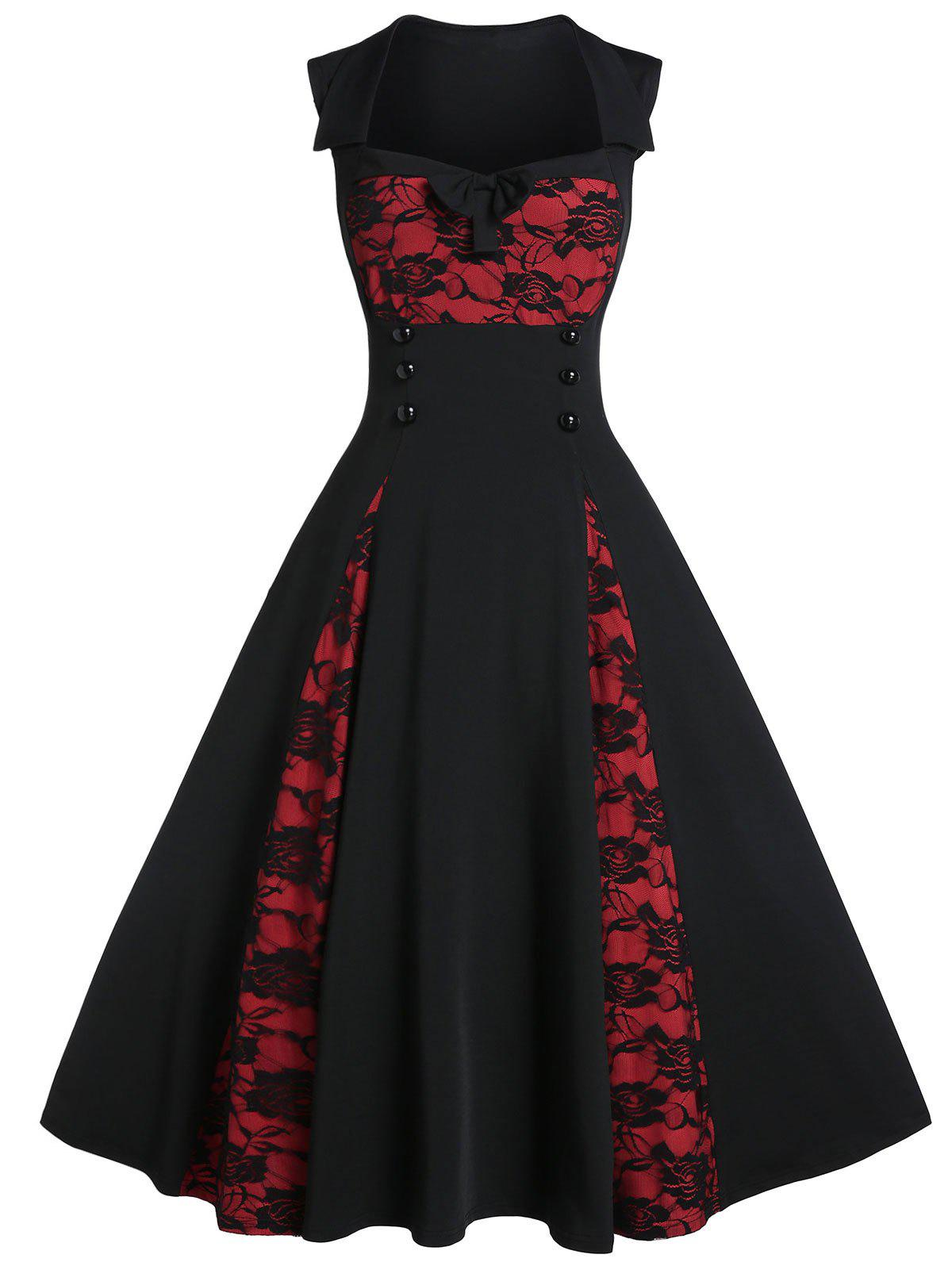 Fancy Two Tone Rose Lace A Line Dress