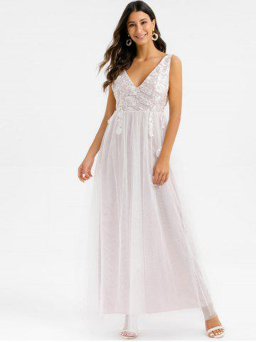 Floral Embroidered Lace Overlay Low Cut Maxi Prom Dress