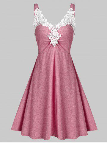 Lace Panel Ruched Mini A Line Dress - ROSE RED - M