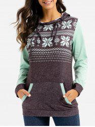 Snowflake Graphic Front Pocket Heathered Hoodie -