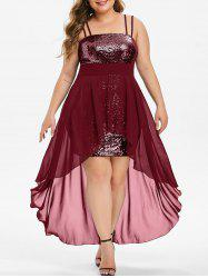 Plus Size High Low Sequin Maxi Cocktail Dress -