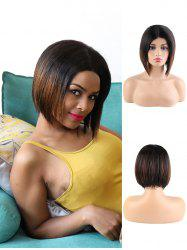 Center Part Human Hair Ombre Straight Bob Wig -