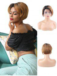 Human Hair Ombre Side Part Straight Short Wig -