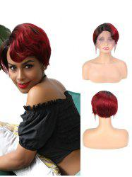 Human Hair Side Part Ombre Red Short Straight Wig -