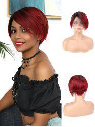 Human Hair Ombre Red Short Straight Wig -