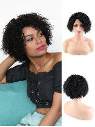 Human Hair Side Part Curly Short Wigs -