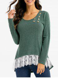 Stripe Textured Lace Hem High Low Sweater -