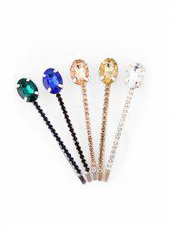 5Pcs Oval Colored Rhinestone Hairpins Set -