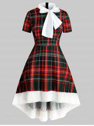 Plus Size Christmas Plaid Bowknot Faux Fur Party Dress -
