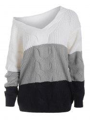 V Neck Cable Knit Colorblock Sweater -
