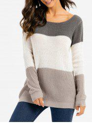 Colorblock Pointelle Knit Sweater -